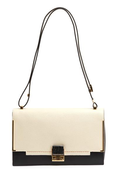 Lanvin - Partition Ivory & Black Saffiano Sport Handbag
