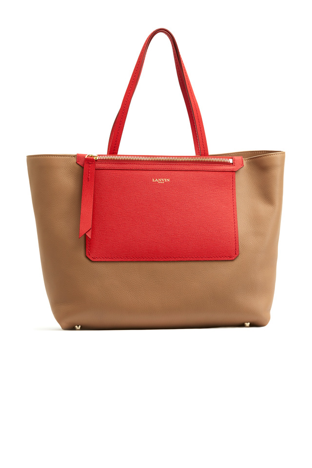 Easy Tan & Red Leather East West Shopper
