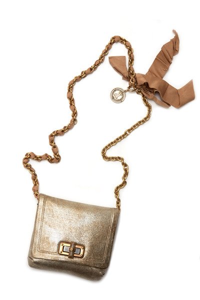 Lanvin - Happy Platinum Leather Mini Pop Crossbody Bag