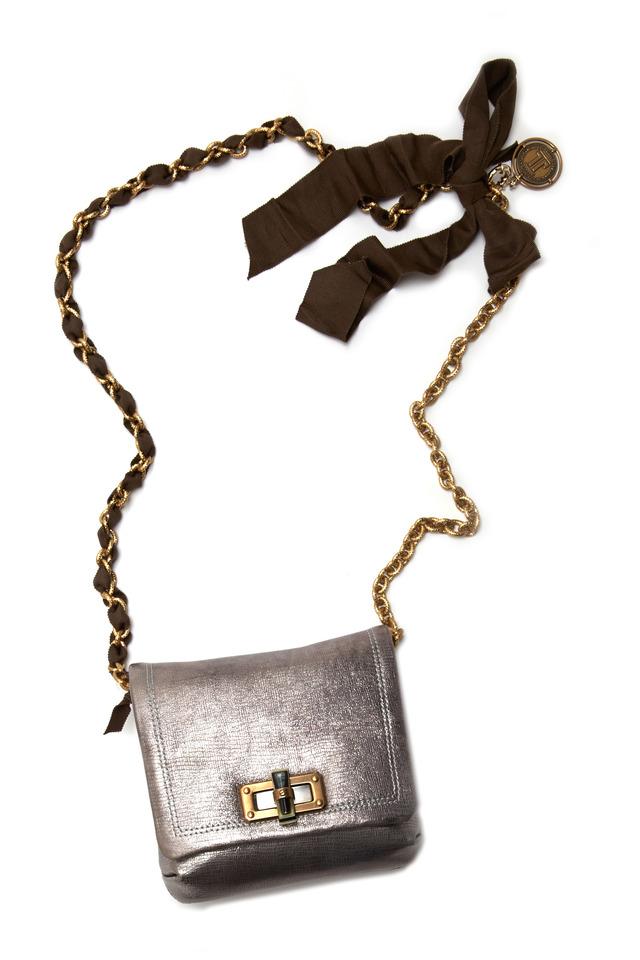 Happy Edgy Gunmetal Leather Crossbody Handbag