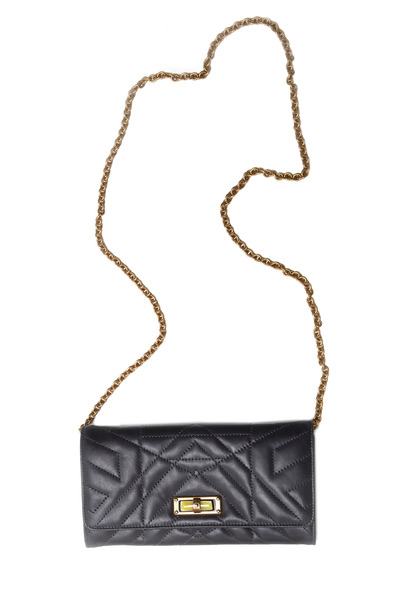Lanvin - Happy Anthracite Leather Chain Wallet