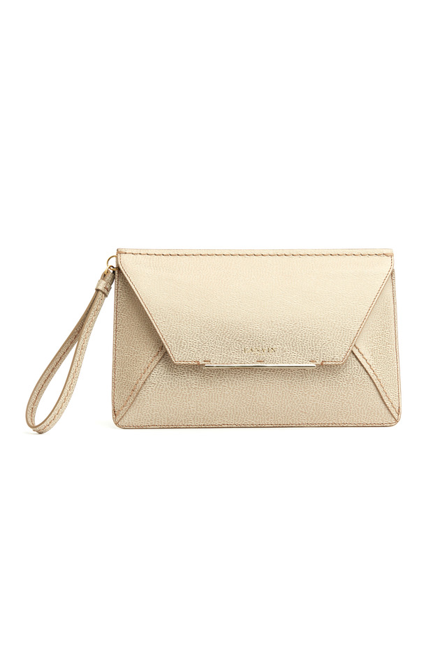 Evening Gold Leather Flap Wristlet Handbag