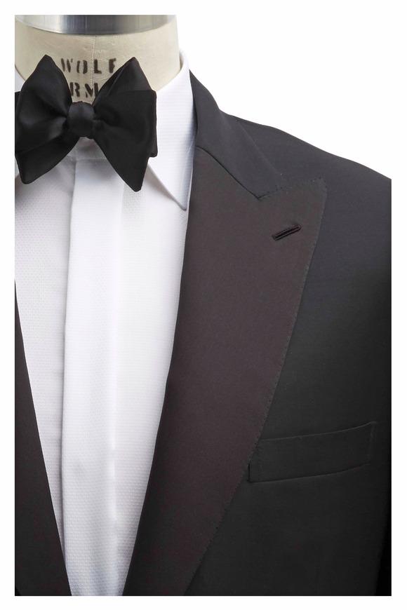 Brioni Black Wool Peak Lapel Tuxedo