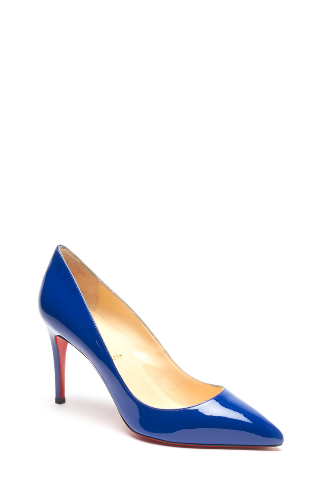 Pigalle Neptune Blue Patent Leather Pump, 85mm