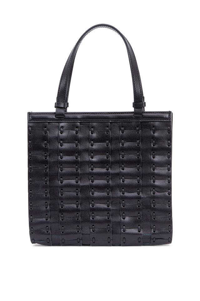 Black Leather Woven Small Crossbody Bag