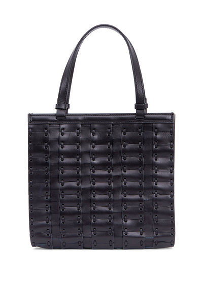 The Row - Black Leather Woven Small Crossbody Bag