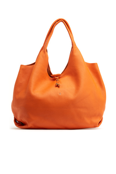 Henry Beguelin - Canotta Orange Pebbled Leather Hobo Handbag