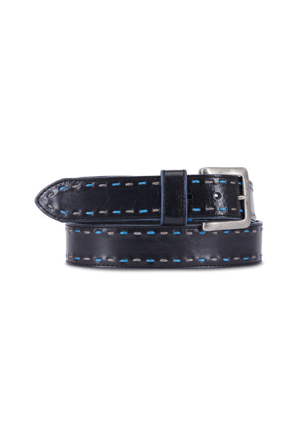 Aquarius Black Leather & Blue Stitch Detail Belt