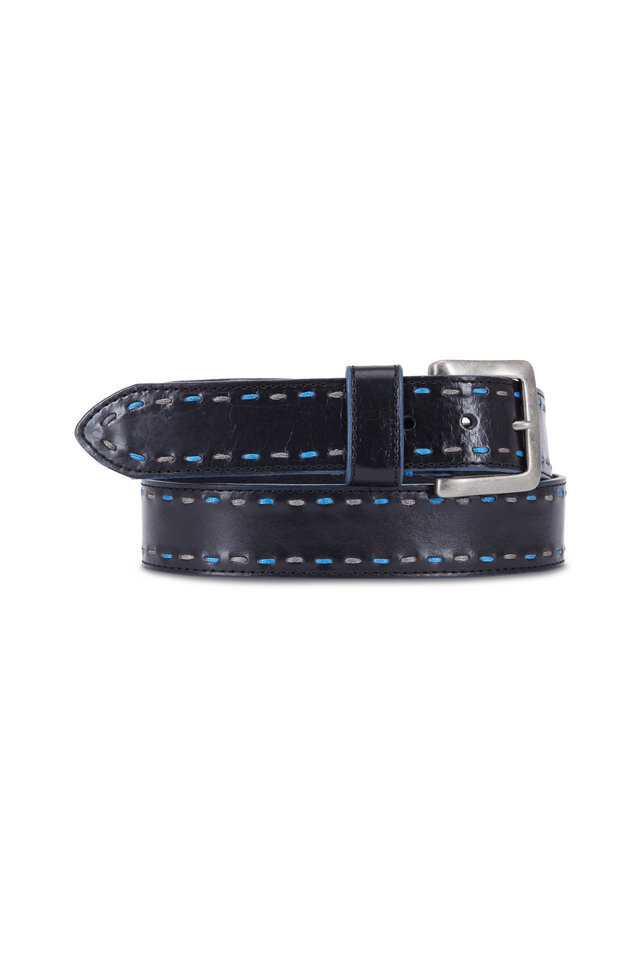 Black Leather & Blue Stitch Detail Belt