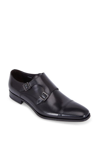 To Boot New York - Grant Black Leather Double Monk Strap Cap-Toe Shoe