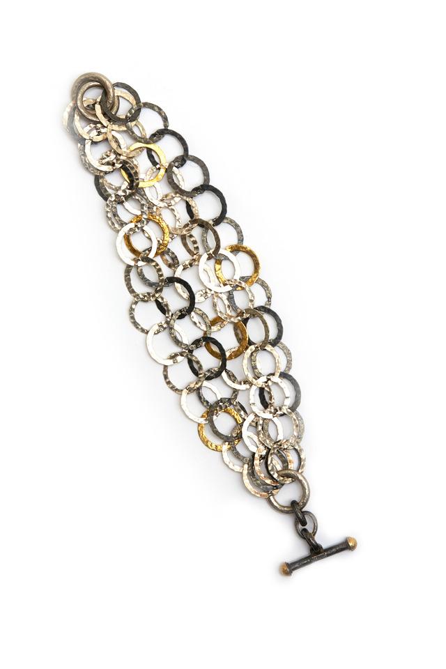 Hammered Gold & Sterling Silver Link Bracelet