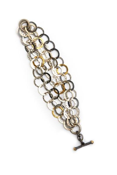 Gurhan - Hammered Gold & Sterling Silver Link Bracelet