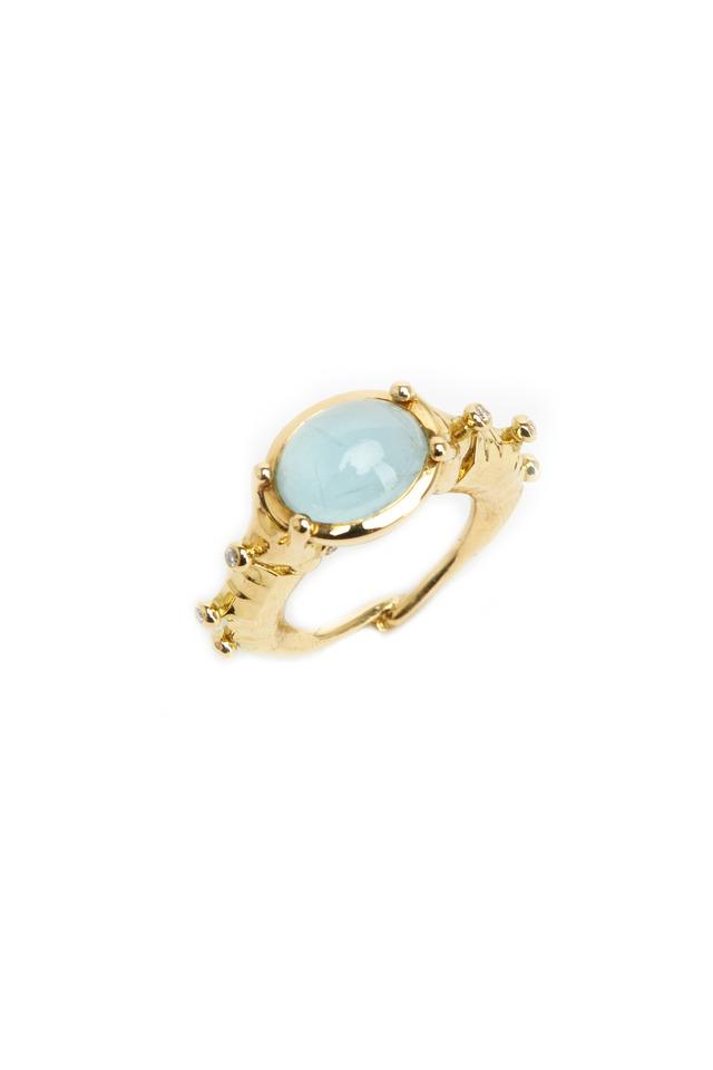 Gold Seahorse Aqua Diamond Ring