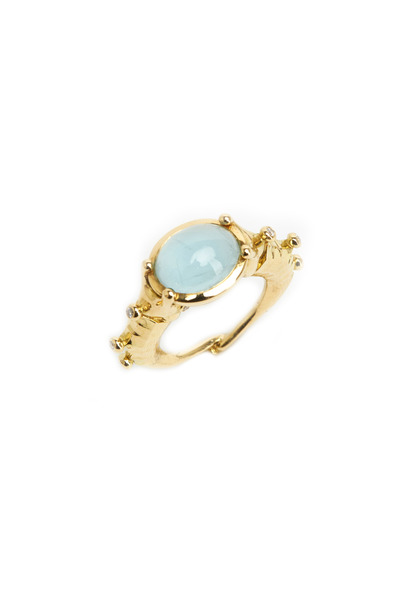 Temple St. Clair - Gold Seahorse Aqua Diamond Ring