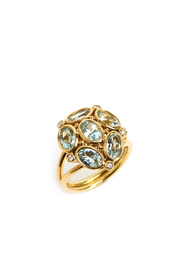 Gold Aquamarine Cluster Diamond Ring