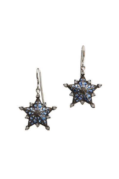 Nam Cho - White Gold Blue Sapphire Diamond Star Earrings