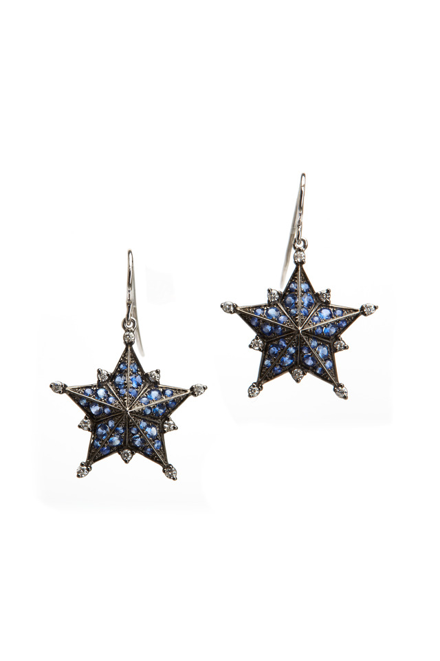 White Gold Blue Sapphire Diamond Star Earrings