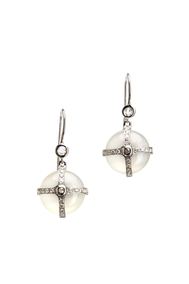 Gold Grey Moonstone Diamond Earrings