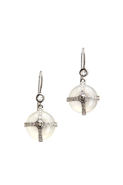 Nam Cho - Gold Grey Moonstone Diamond Earrings