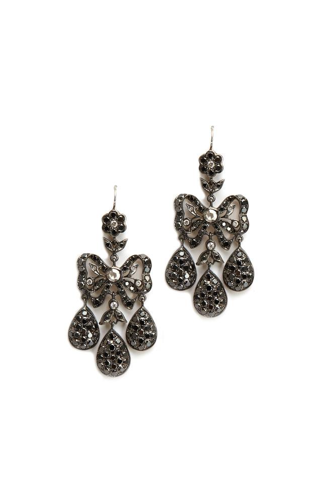 White Gold Diamond Girandole Chandelier Earrings