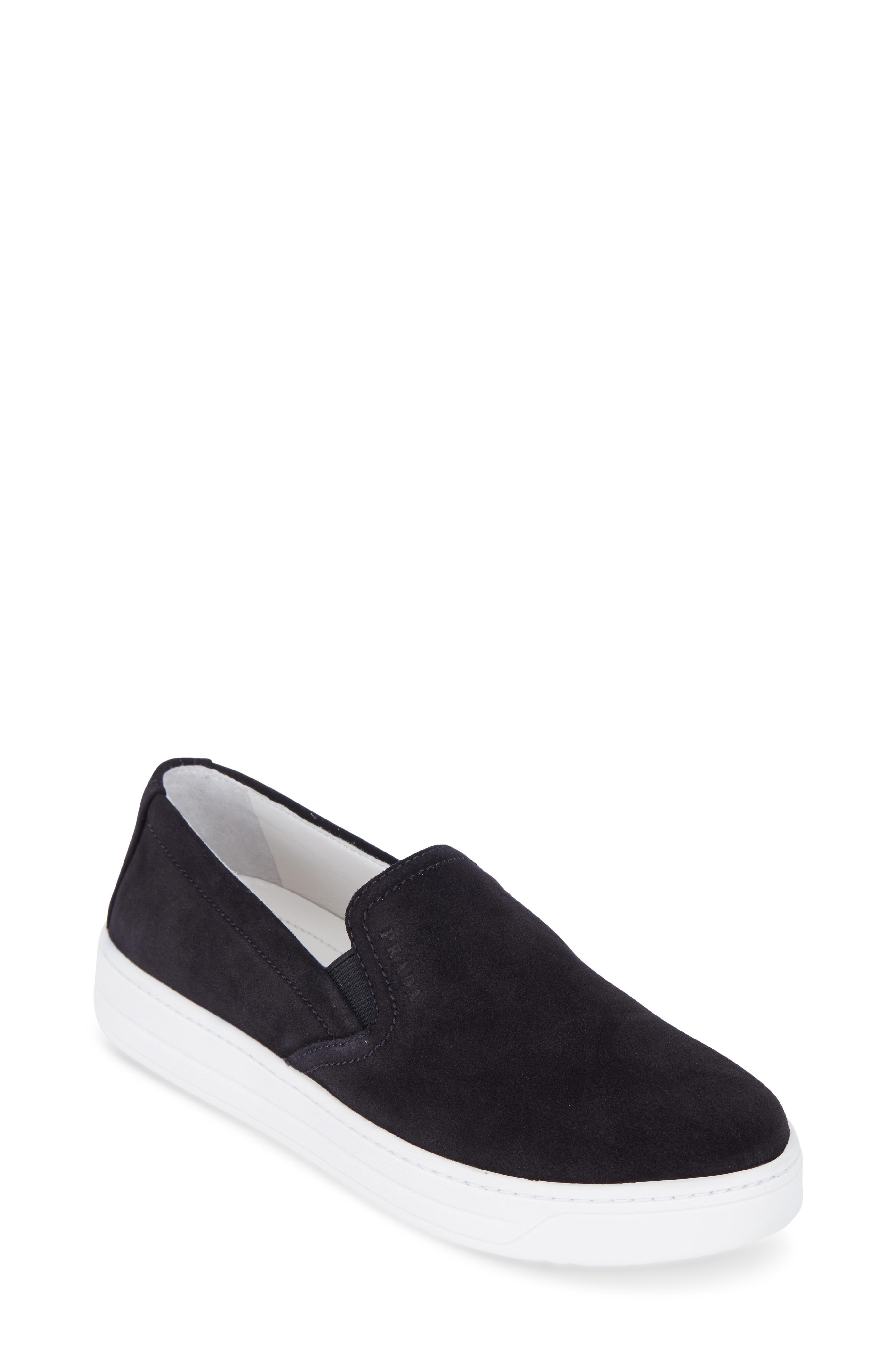 Prada Black Suede Slip On Skate Sneaker | Mitchell Stores