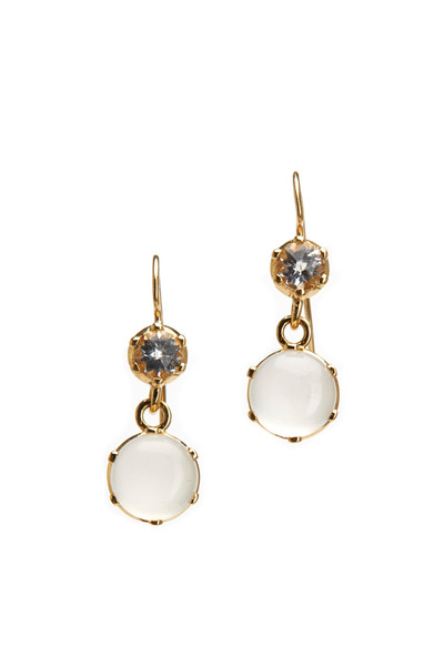 Nam Cho - Gold White Topaz & Silvolite Cabochon Earrings