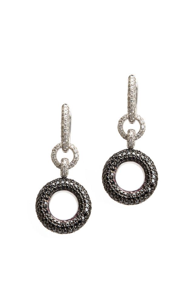 White Gold Black & White Diamond Donut Earrings