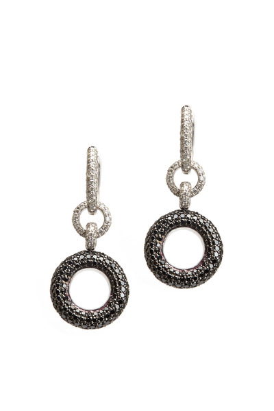 Nam Cho - White Gold Black & White Diamond Donut Earrings