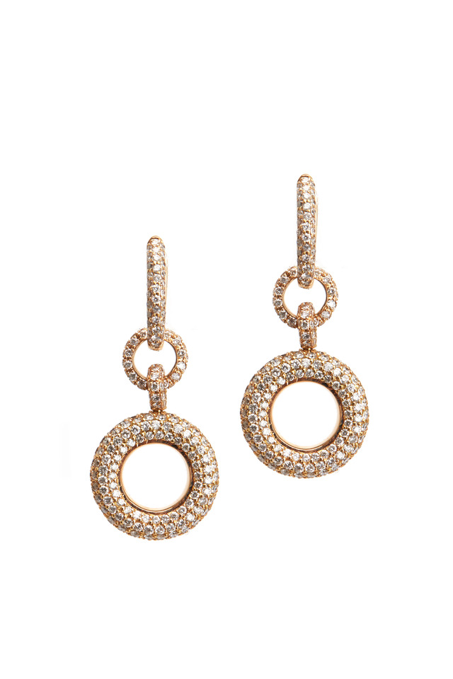 Pink Gold Champagne & White Diamond Donut Earrings