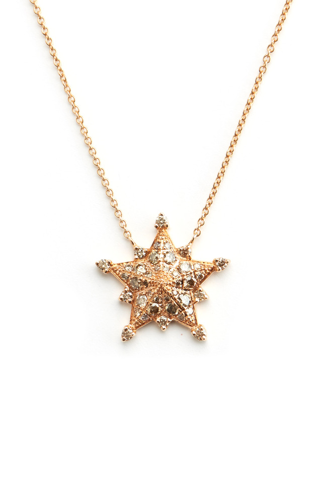 Pink Gold Champagne Diamond Star Pendant Necklace