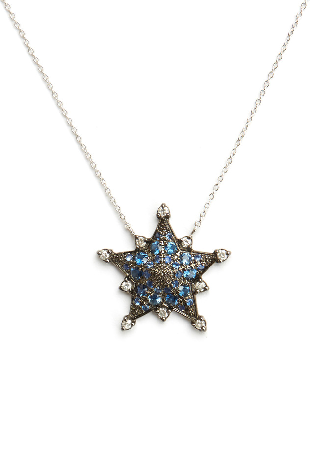 White Gold Blue Sapphire Star Pendant Necklace
