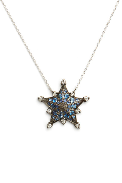Nam Cho - White Gold Blue Sapphire Star Pendant Necklace