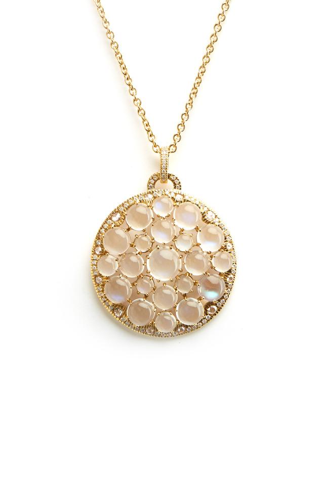 Gold Round Blue Moonstone Cluster Diamond Pendant
