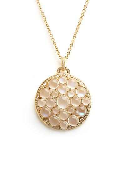 Nam Cho - Gold Round Blue Moonstone Cluster Diamond Pendant