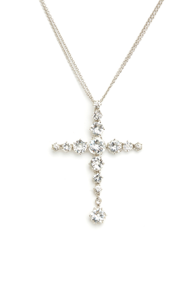 White Gold White Topaz Diamond Cross Pendant