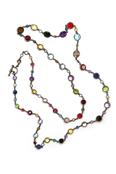 Nam Cho - White Gold Precious Gemstone Mix Necklace