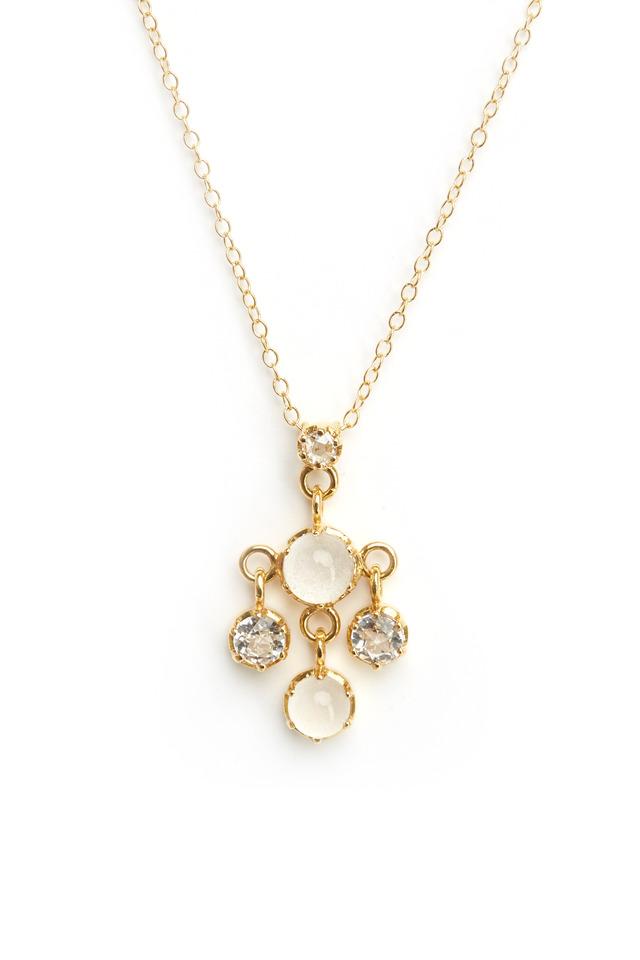 Gold Silvolite & White Topaz Diamond Pendant