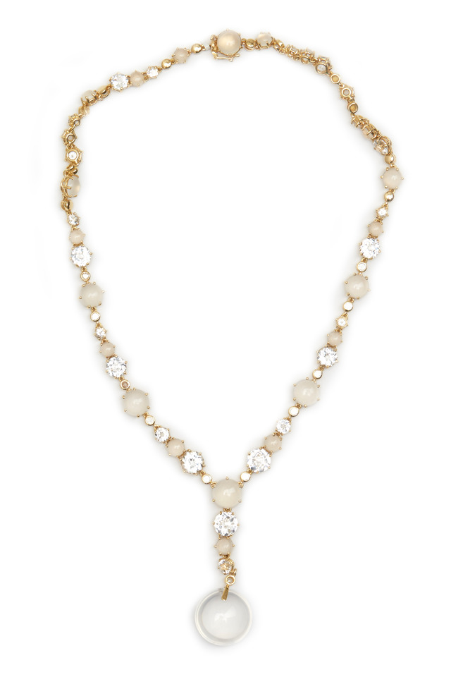 Gold Silvolite & White Topaz Diamond Necklace