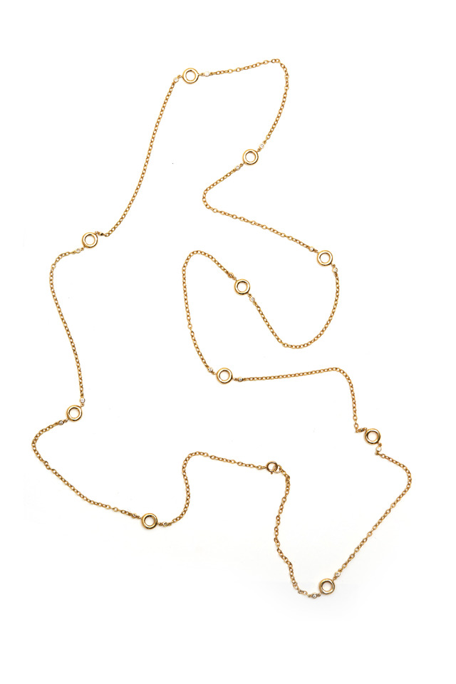 Gold Donut Chain Diamond Necklace