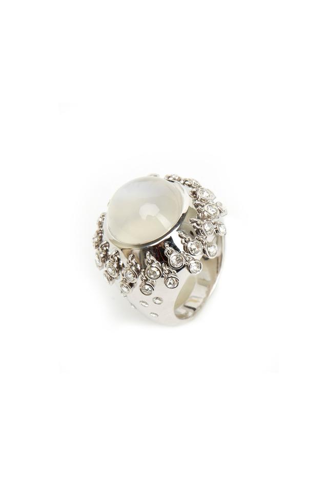 White Gold Blue Moonstone Diamond Fringe Ring