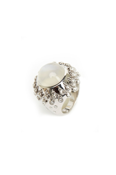 Nam Cho - White Gold Blue Moonstone Diamond Fringe Ring