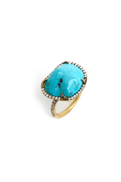 Sylva & Cie - Gold Turquoise Diamond Ring