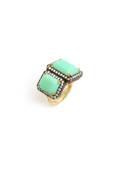 Sylva & Cie - Gold Double Chrysoprase Diamond Ring
