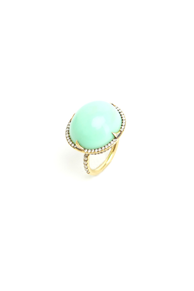 Gold Chrysoprase Diamond Ring