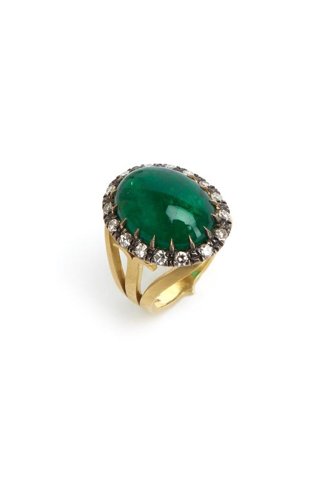 Gold & Silver Emerald Diamond Ring