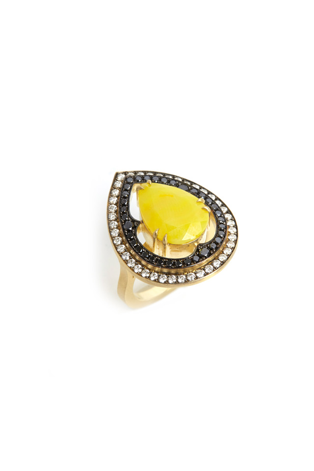 Gold Pear Shape Smithsonite Diamond Ring