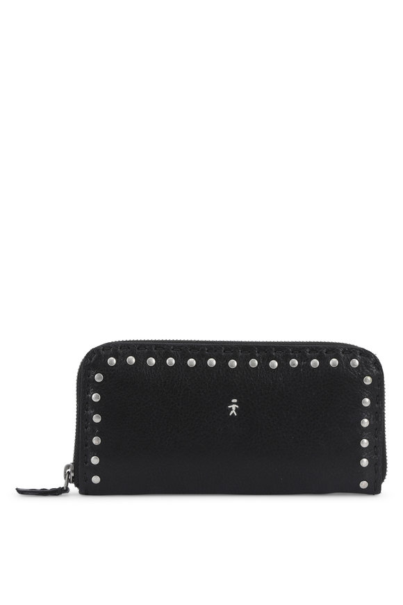 Henry Beguelin Ocean Black Leather Studded Zip-Around Wallet