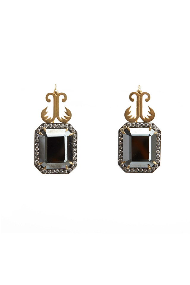 Gold Hematite Diamond Earrings