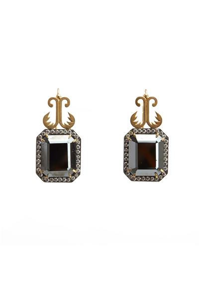 Sylva & Cie - Gold Hematite Diamond Earrings