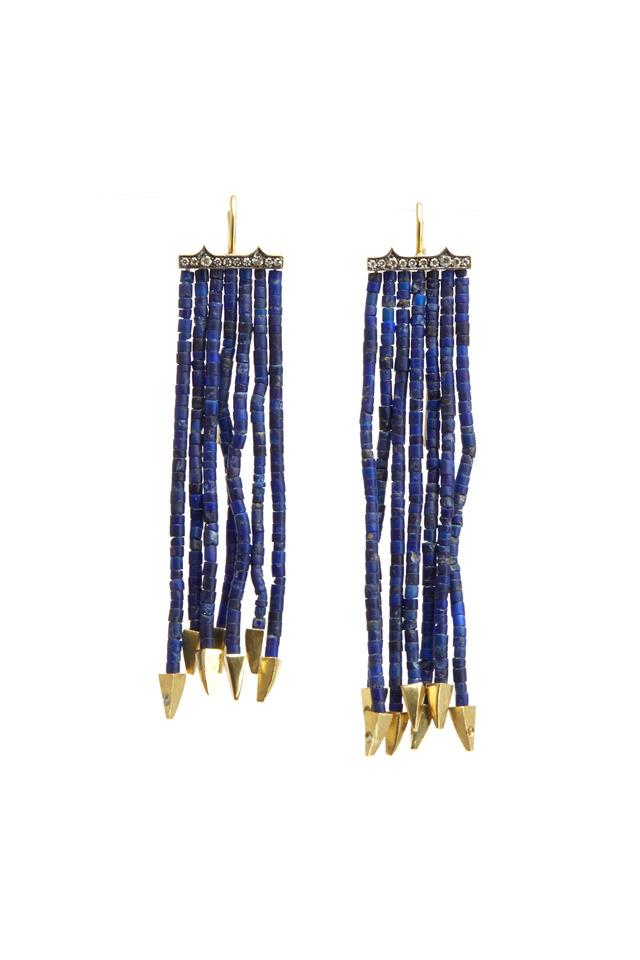 Gold Lapis Strand Diamond Earrings